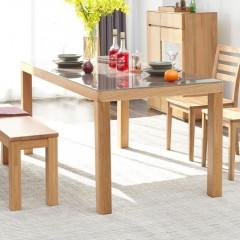 澳洲代购 全实木钢化玻璃餐桌Australia purchasing all solid wood tempered glass dining table